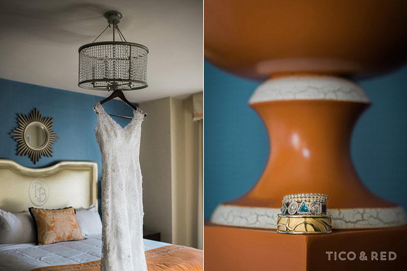 Wedding dress, wedding ring, creative details