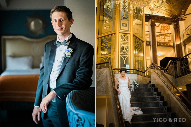 Groom elegant portrait and bride walks down main Biltmore stairs