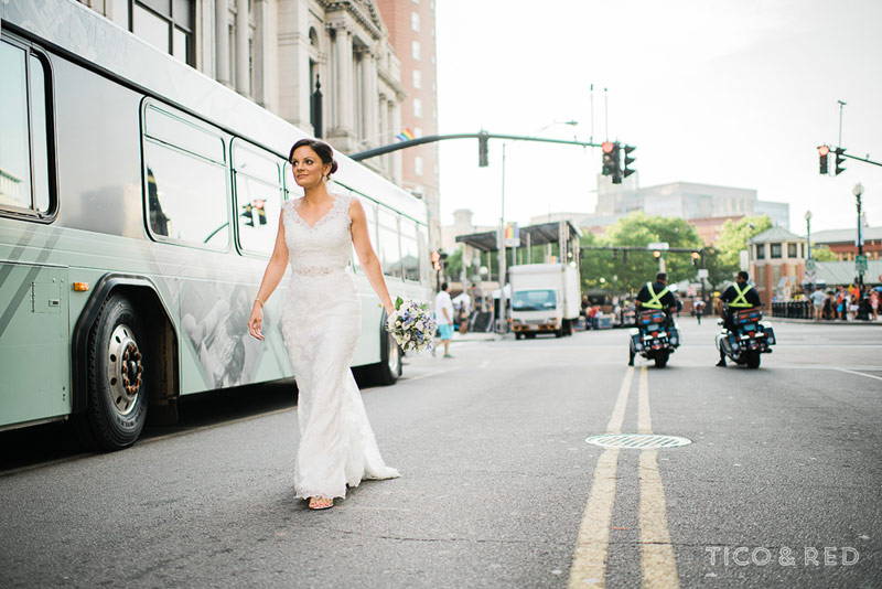 Festival with bride walking down the street