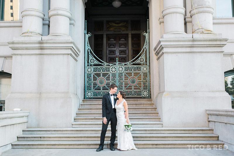 Providence City Hall wedding portrait