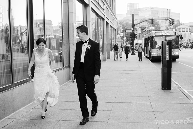 Bride and groom walking in Providence