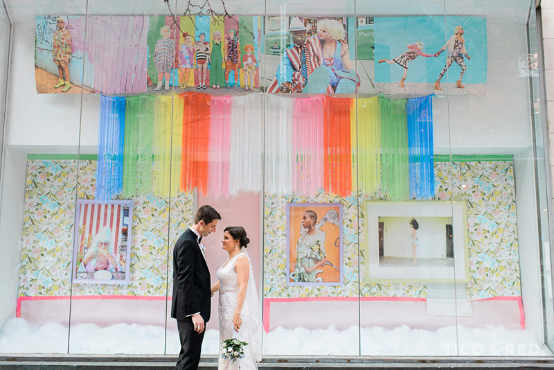 Art installation with bride and groom