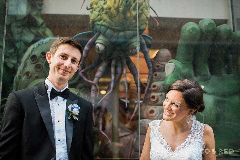 Funky portrait of wedding couple