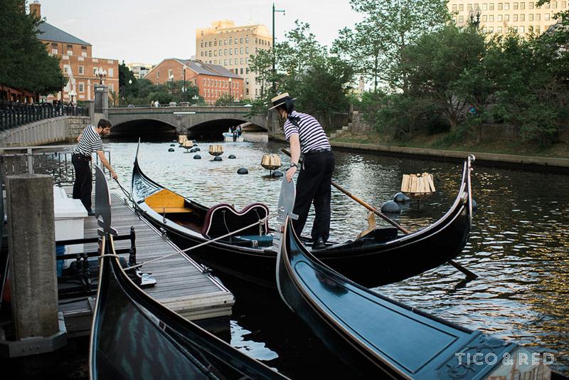 Gondolas in Providence for wedding