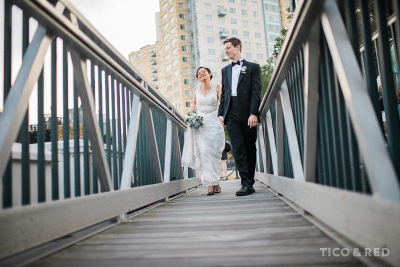 Dramatic low angle wedding portrait