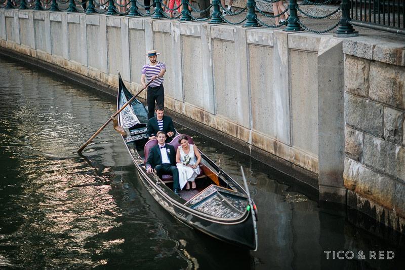 Gondola ride at wedding in Providence River