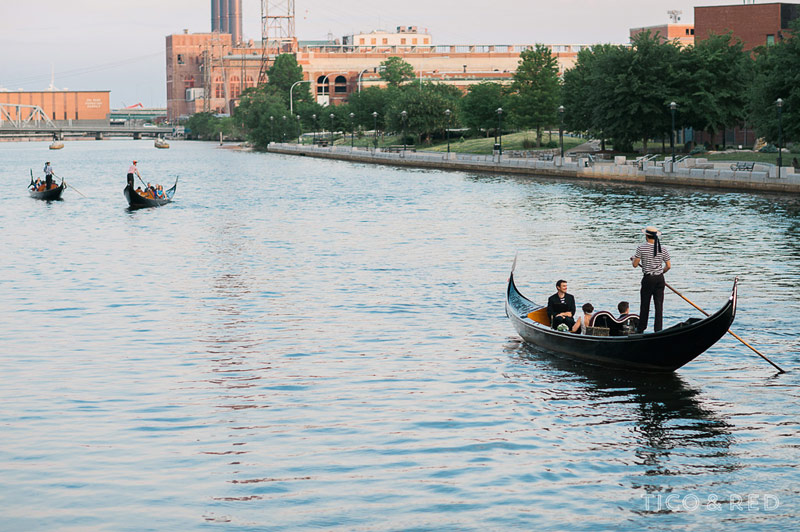 Wedding guests on gondolas in Providence