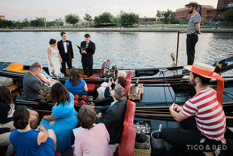 Wedding ceremony on Rhode Island gondolas