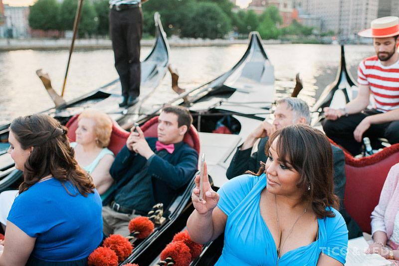Wedding ceremony in Providence gondolas