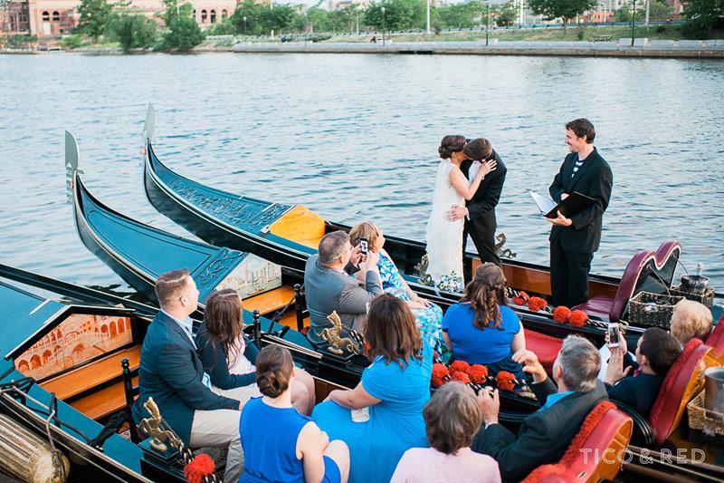 Wedding first kiss on a gondola