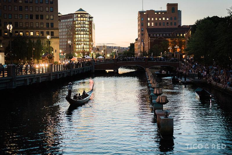 Evening gondola shot during WaterFire