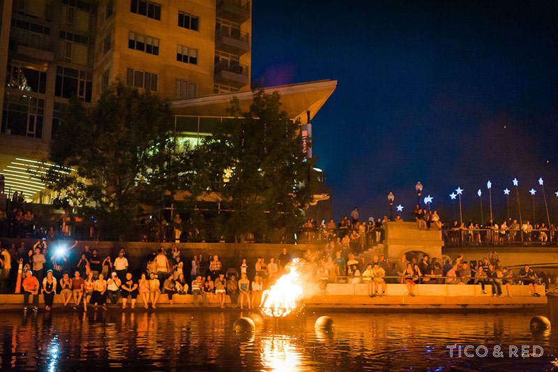 WaterFire torches in Providence River
