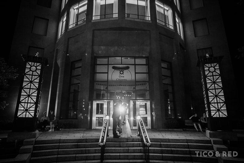 Dramatic black and white wedding couple image