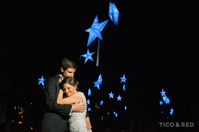 Bride, groom, paper stars